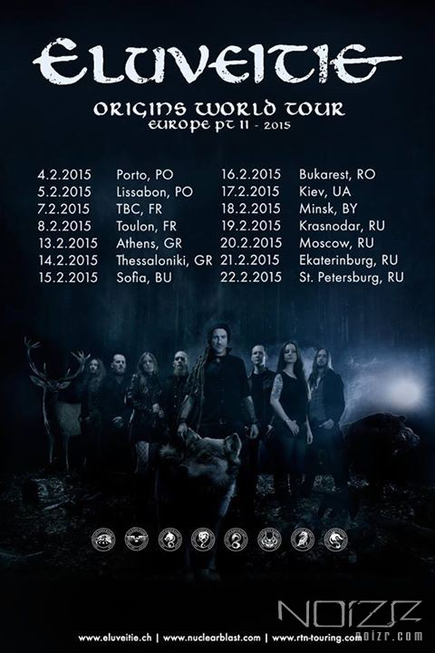 Eluveitie's announced tour dates for 2015