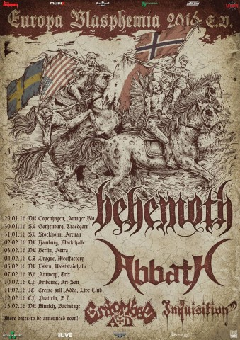 Abbath, Behemoth, Inquisition and Entombed A.D. go on European tour in 2016