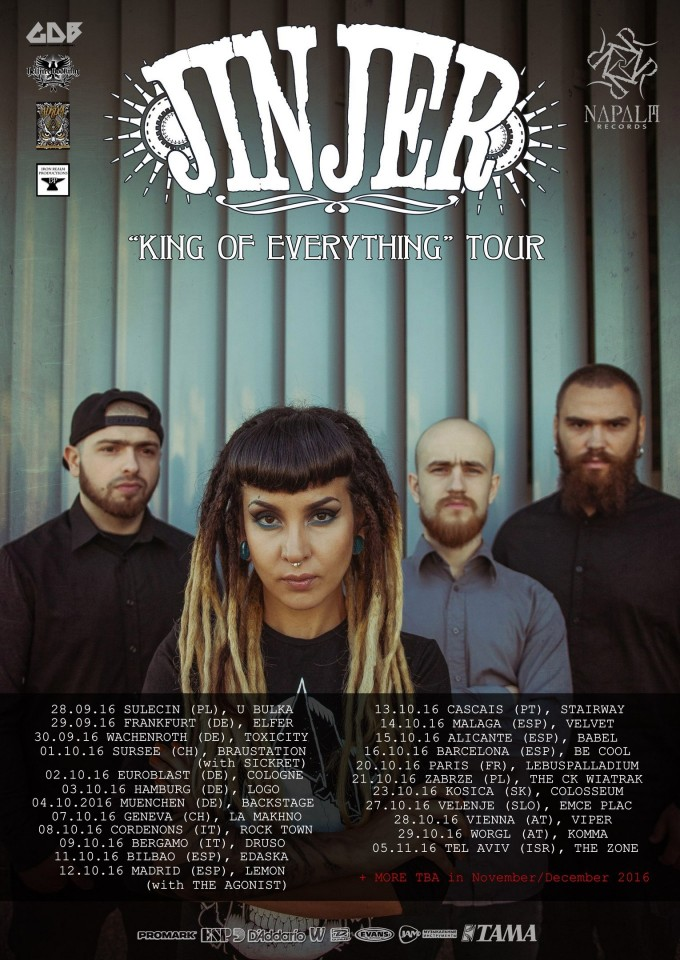 Jinjer European tour dates 2016