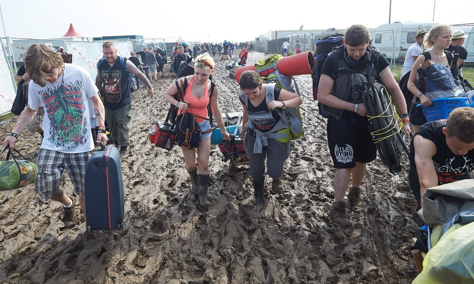 Photograph: Thomas Frey/EPA — Rock am Ring Festival ended earlier due to storm warning