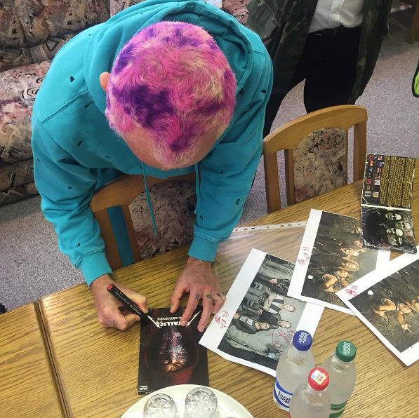 Flea's photo from his Instagram — RHCP signed Metallica merch for Belarusian customs officers